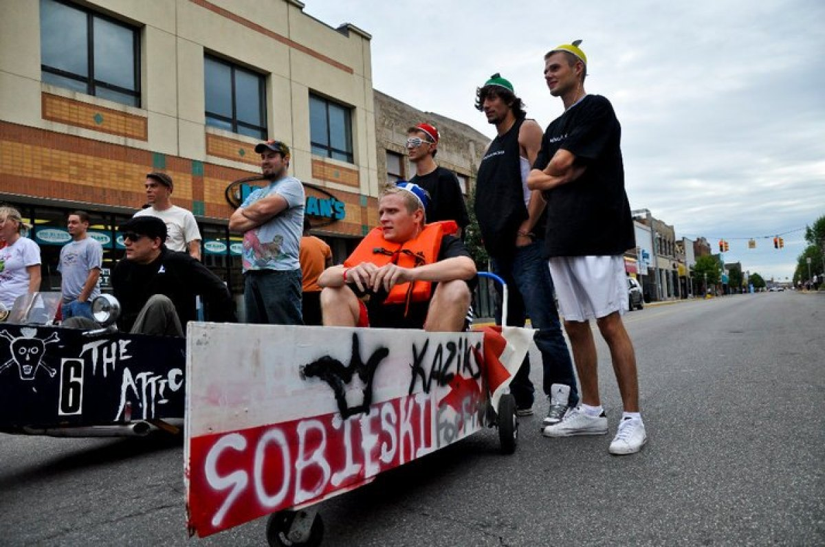 Hamtramck's Labor Day Festival includes a special boat race involving nautically-themed push-carts sponsored by local bars.