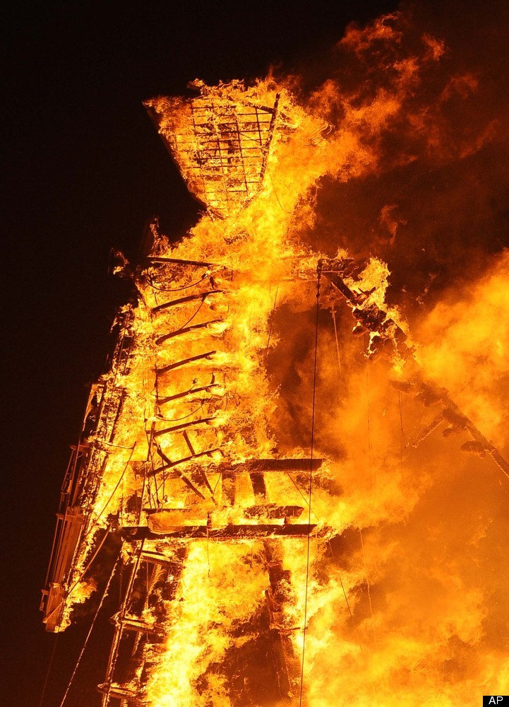 The Man burns on the playa at Burning Man on the Black Rock Desert near Gerlach, Nev. on Friday August 31, 2012. (AP Photo/An