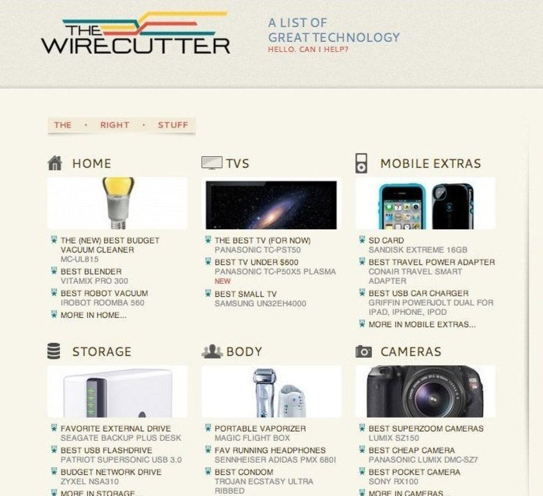 """<a href=""""http://thewirecutter.com"""" target=""""_hplink"""">The Wirecutter</a> is a stripped down, easy-to-use consumer's guide to al"""