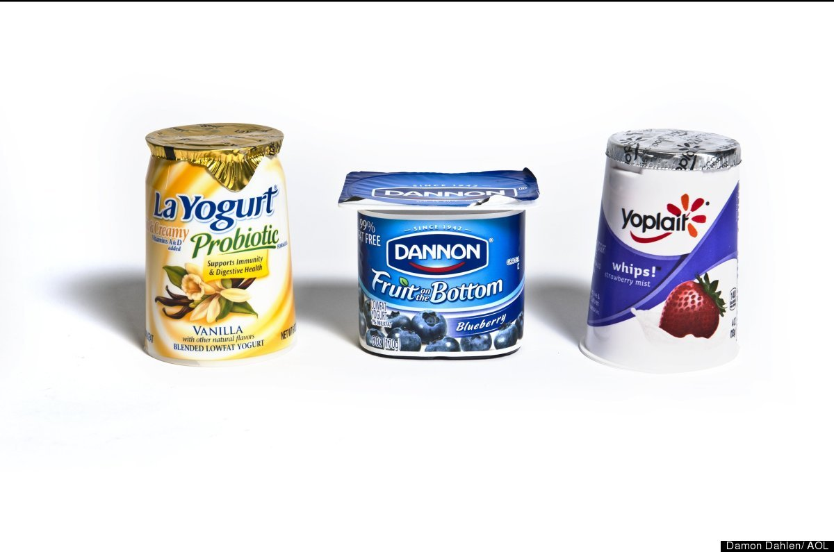 LaYogurt's Rich and Creamy Lowfat Blended Vanilla contains fructose as its fifth ingredient.   Danon's Fruit on the Bottom