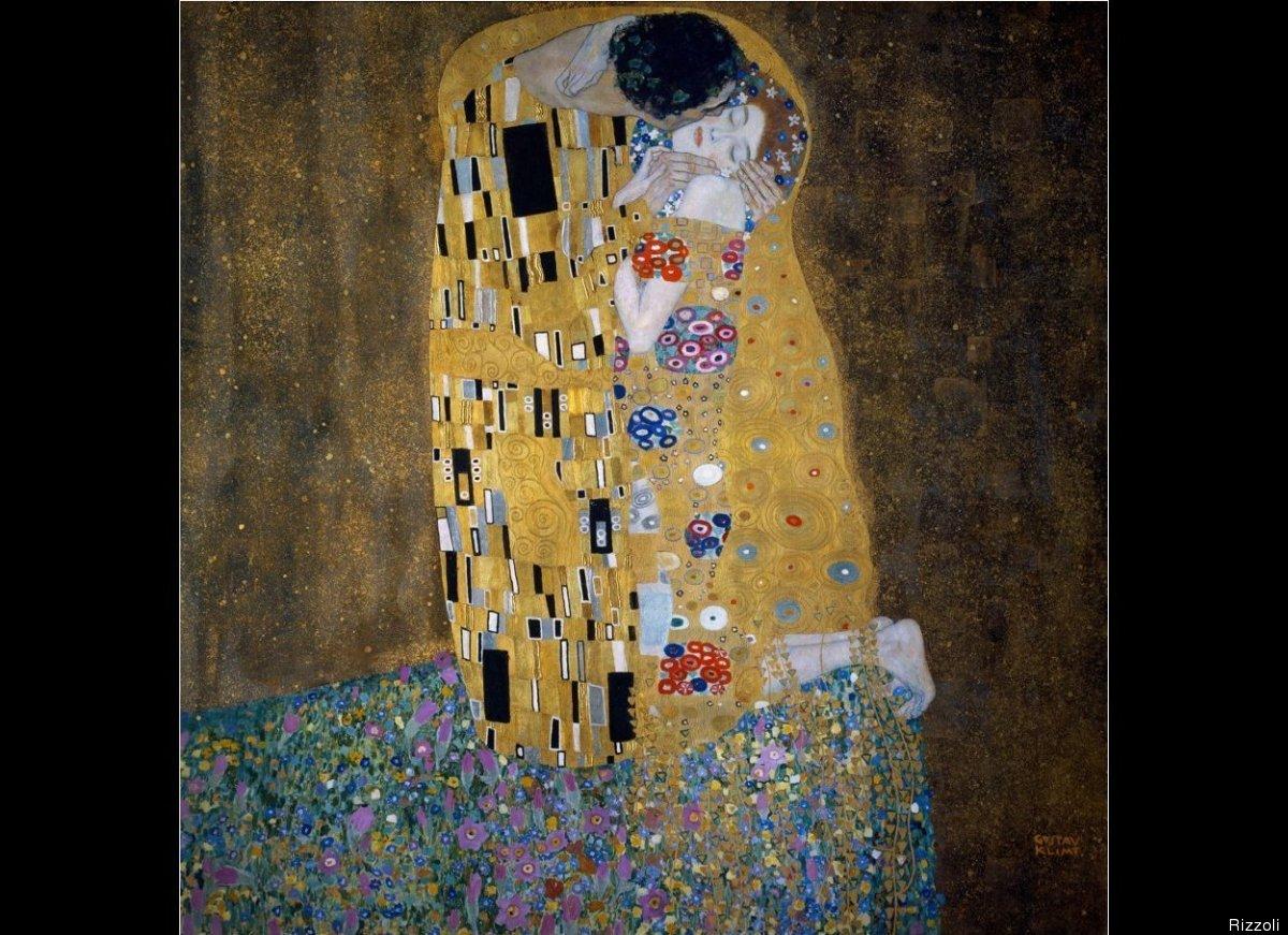 Gustav Klimt, The Kiss, 1907-1908. Oil on canvas, 70 ¾ x 70 ¾ in. (180 x 180 cm).