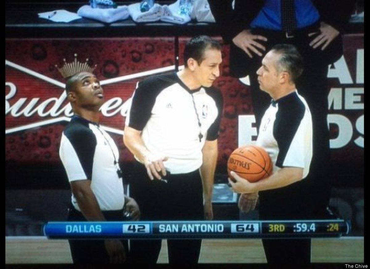 The other two refs are discussing whether or not to tell him.