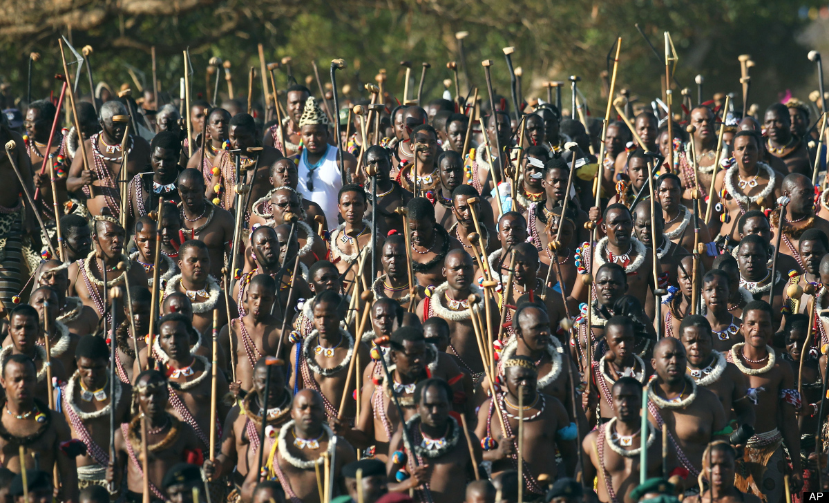 Swaziland's King, Mswati III warriors sing as they arrive at the Queen Mother's Royal Palace in Mbabane, Swaziland, Monday, S