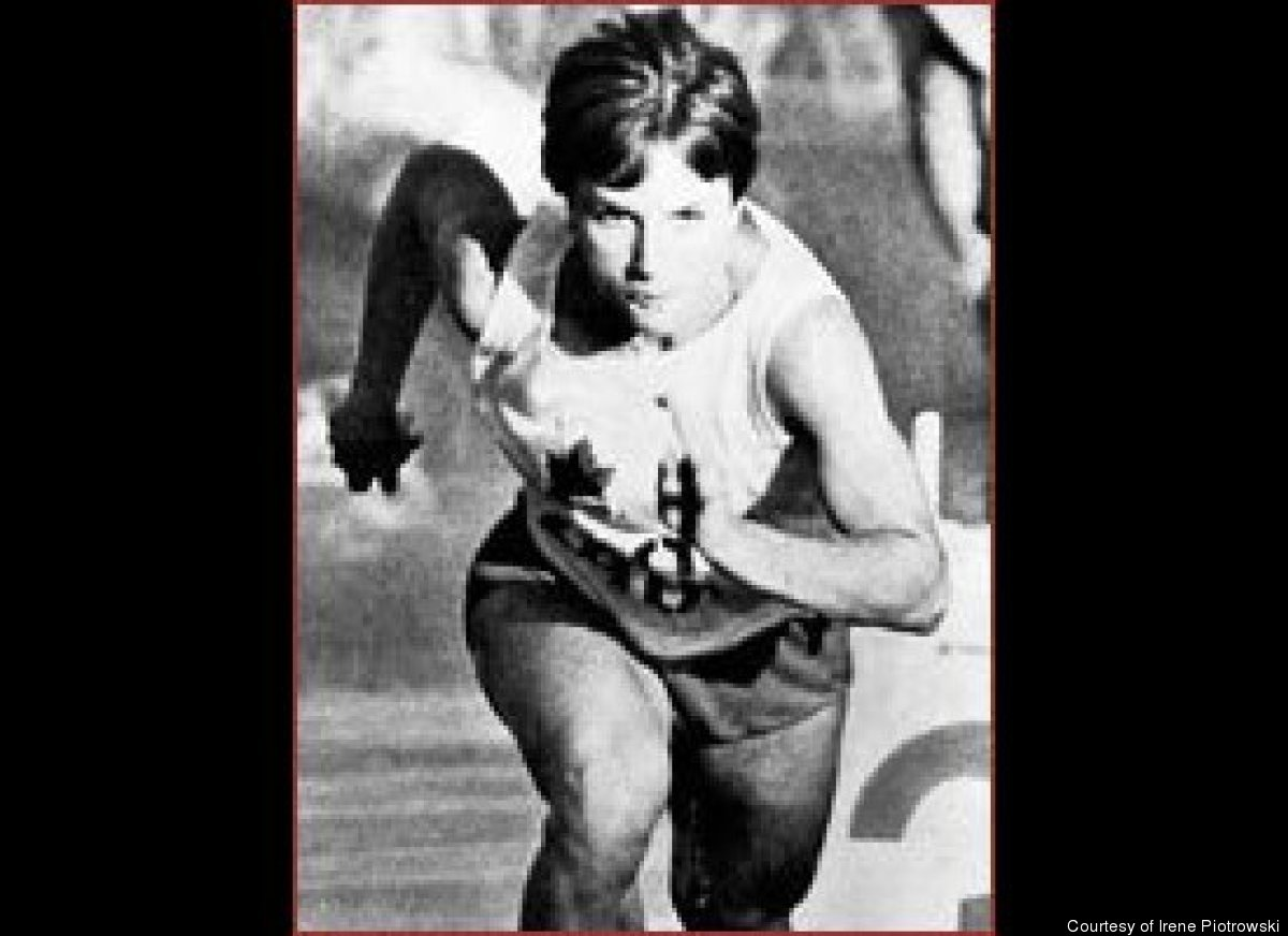 Irene Piotrowski as Canadian champion on track and field and world record setter from 1963 to 1973.