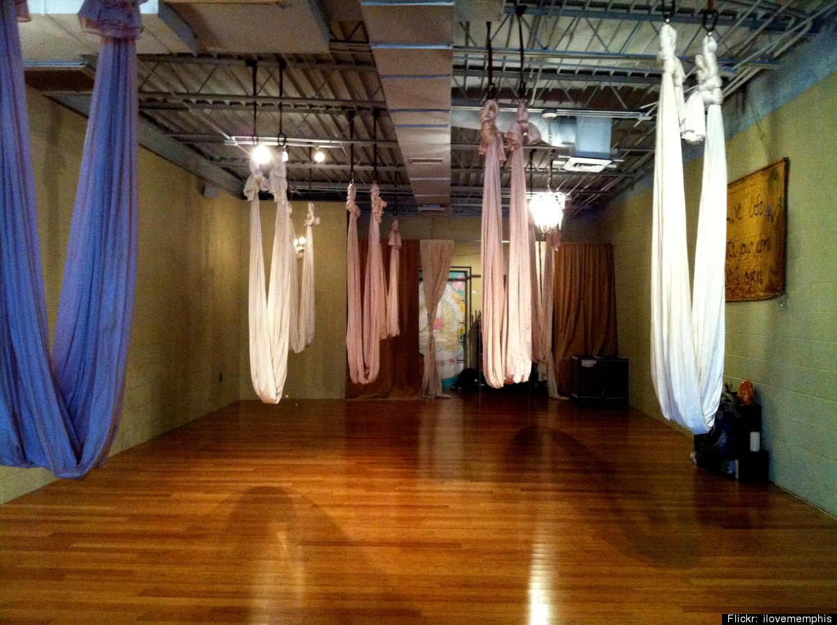 It's a bird ... it's a plane ... it's -- yoga, in a suspended hammock?