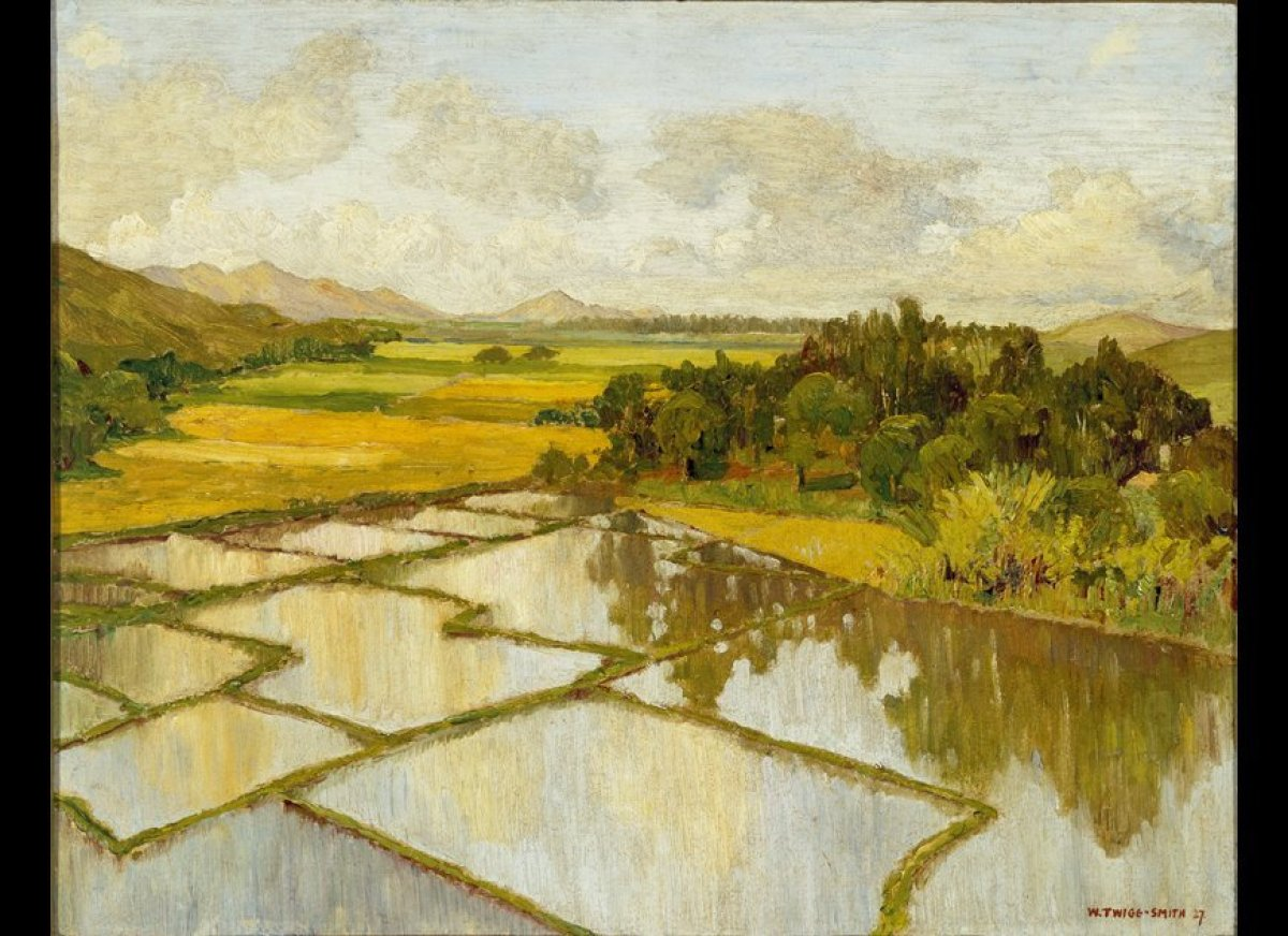 William Twigg-Smith, New Zealand, 1883-1950 Rice Fields, Hanalei, ca. 1929, Oil on chipboard  Gift of Anna Rice Cooke, 192
