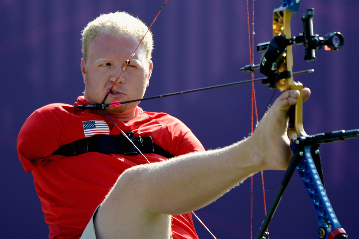 Matt Stutzman of the United States competes in the Men's Individual Compound Archery - Open on day 5 of the London 2012 Paral