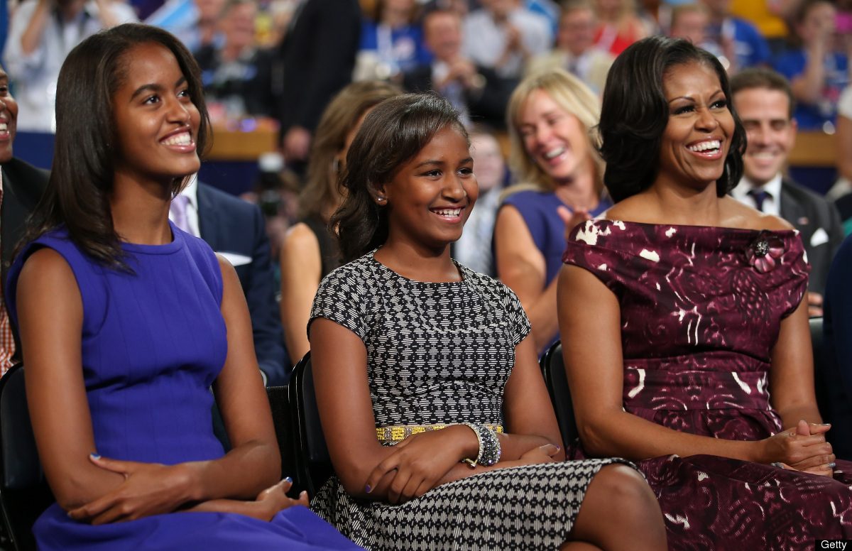 CHARLOTTE, NC - SEPTEMBER 06:  (L-R) Malia Obama, Sasha Obama, and First lady Michelle Obama listen as Democratic presidentia