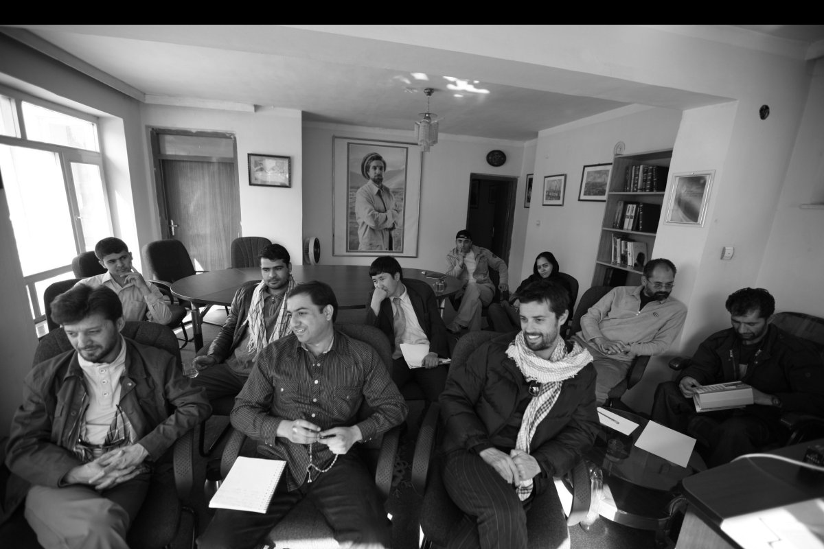 Meeting Afghan photographers and staff at AINA Photo Agency in 2008. Photo: Tony Di Zinno