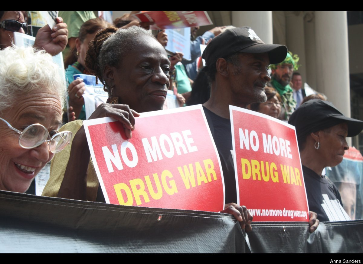 """Members of VOCAL-NY join the Caravan for Peace on the steps of City Hall Sept. 7, 2012, to protest the """"failed"""" war on drugs"""