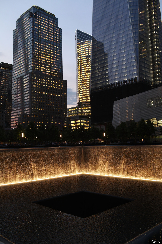 The 9/11 Memorial is viewed during a ceremony for recovery workers and first responders on the10-year anniversary of the form