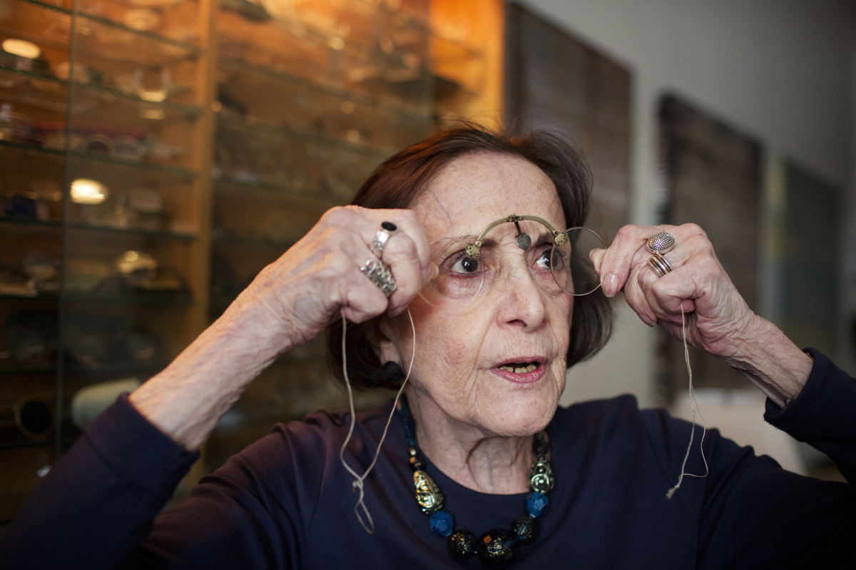 Photos from an audio slideshow featuring an Upper East Side woman with a collection of thousands of antique eye-glasses. (Eli