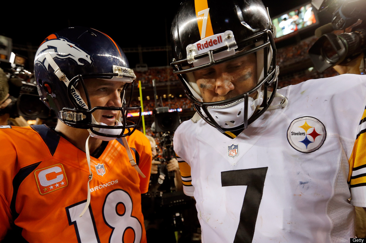 DENVER, CO - SEPTEMBER 09:  Quarterback Peyton Manning #18 of the Denver Broncos and quarterback Ben Roethlisberger #7 of the