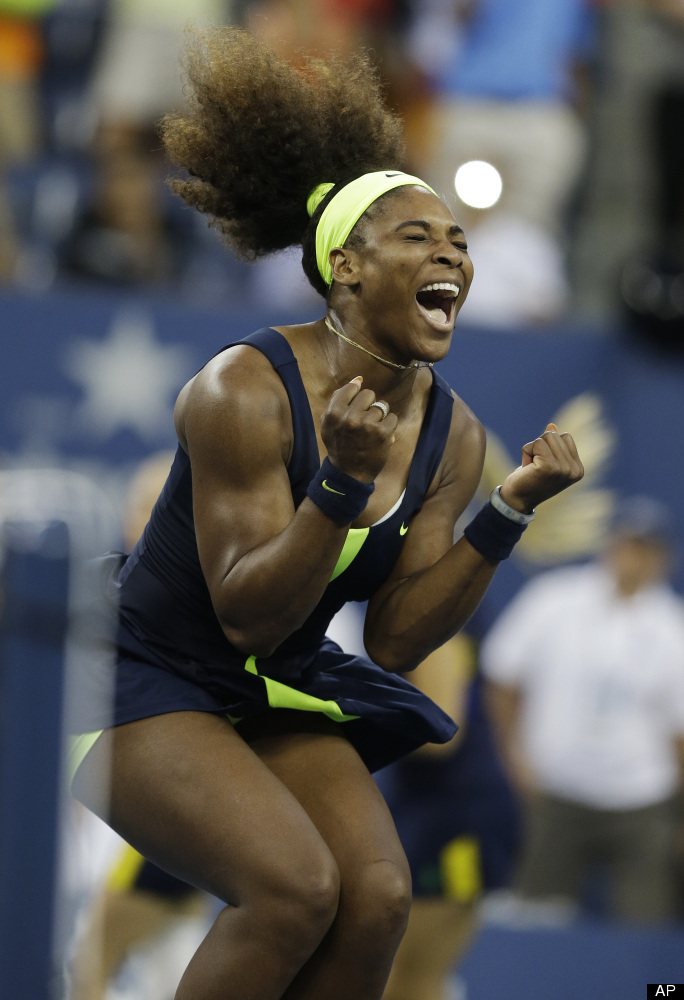 Serena Williams reacts after beating Victoria Azarenka, of Belarus, in the championship match at the 2012 US Open tennis tour