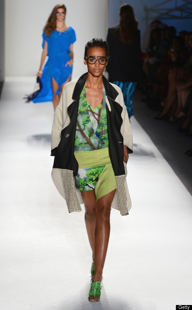 NEW YORK, NY - SEPTEMBER 09:  A model walks the runway at the Tracy Reese Spring 2013 fashion show for TRESemme during Merced