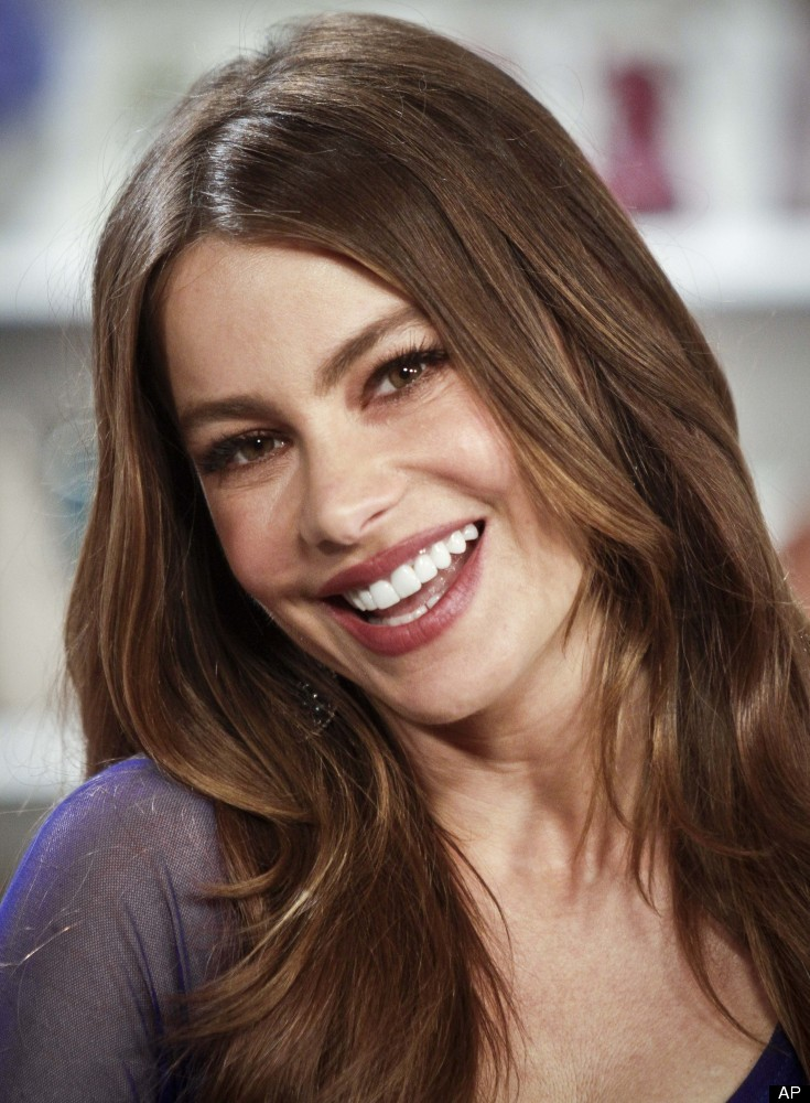 """Sofia Vergara, Emmy Award nominee actress of the TV show """"Modern Family,"""" poses during an interview in New York, Tuesday, Aug"""