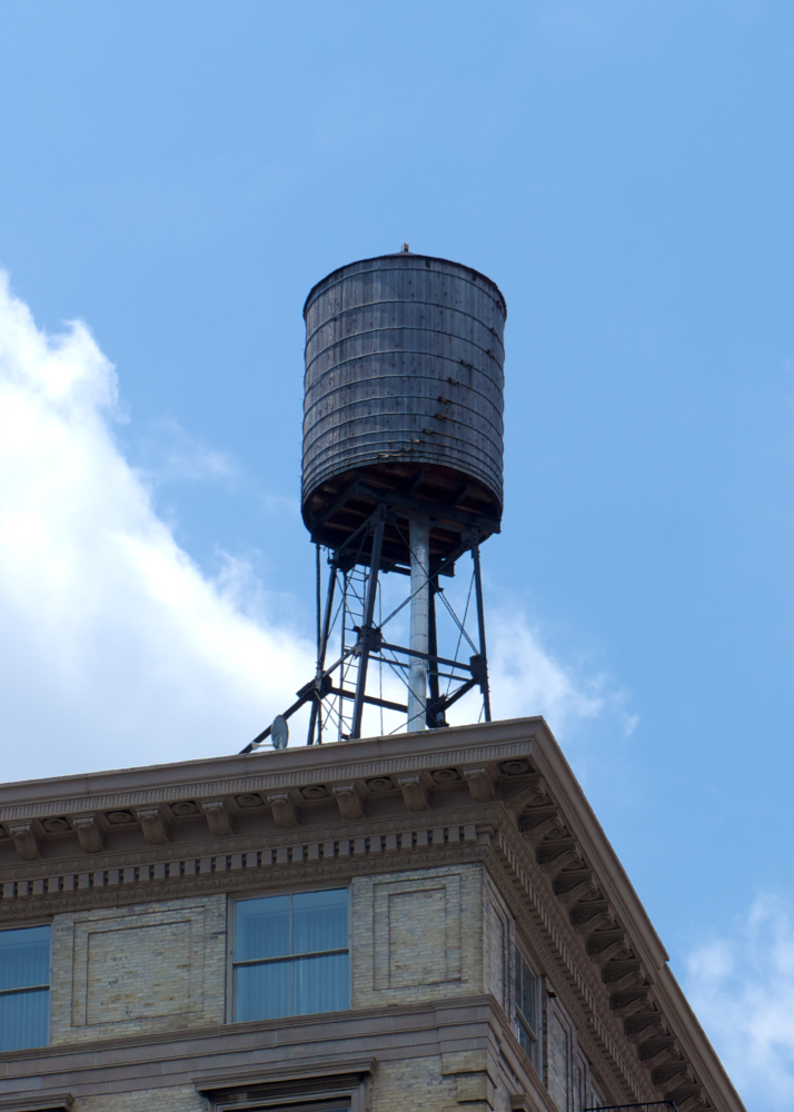 NYC rooftop water tower, reclaimed when wood is replaced every 25-50 years.