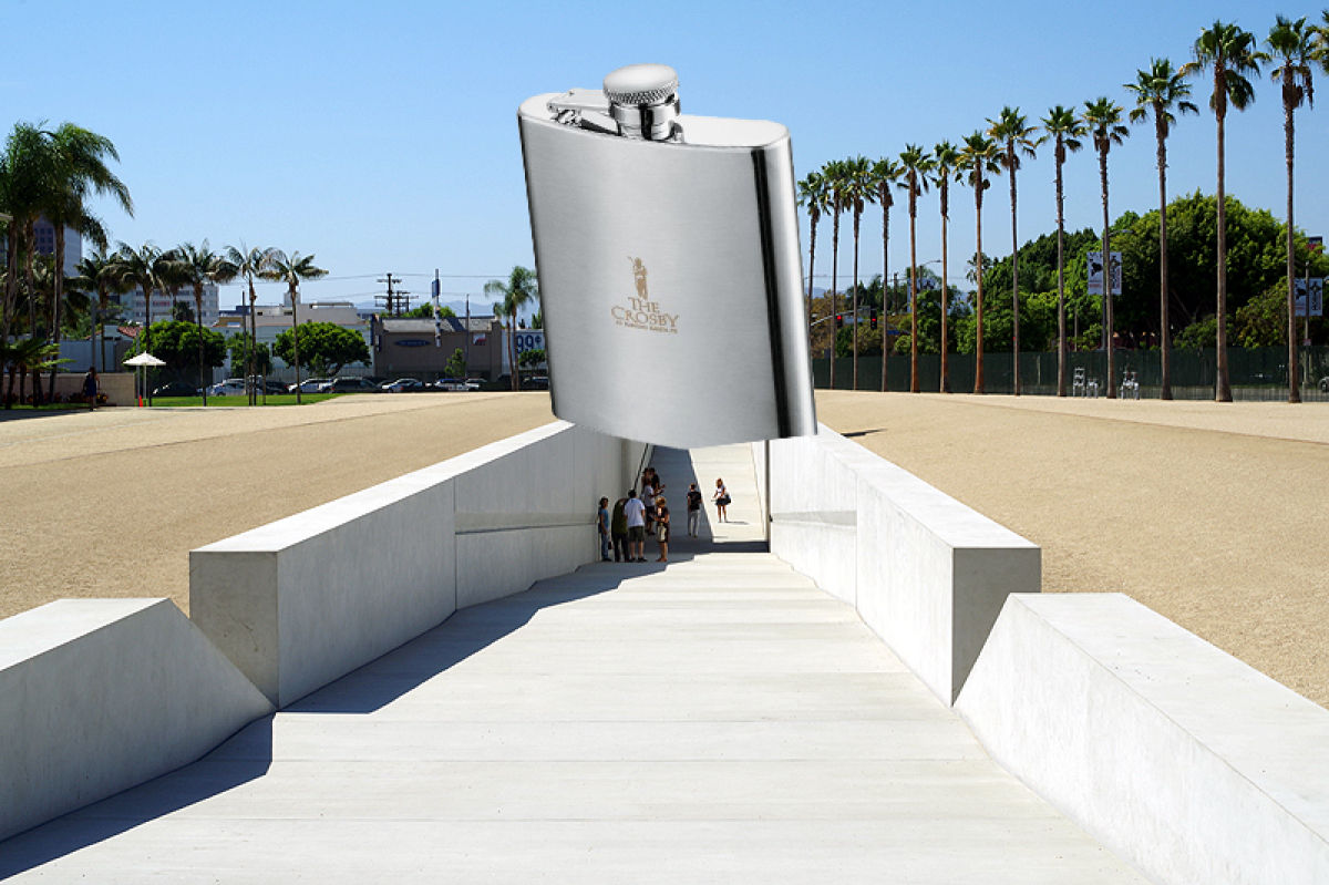 To appeal to the Los Angeles party community, a giant floating flask would be the perfect way to draw in boys and girls who j