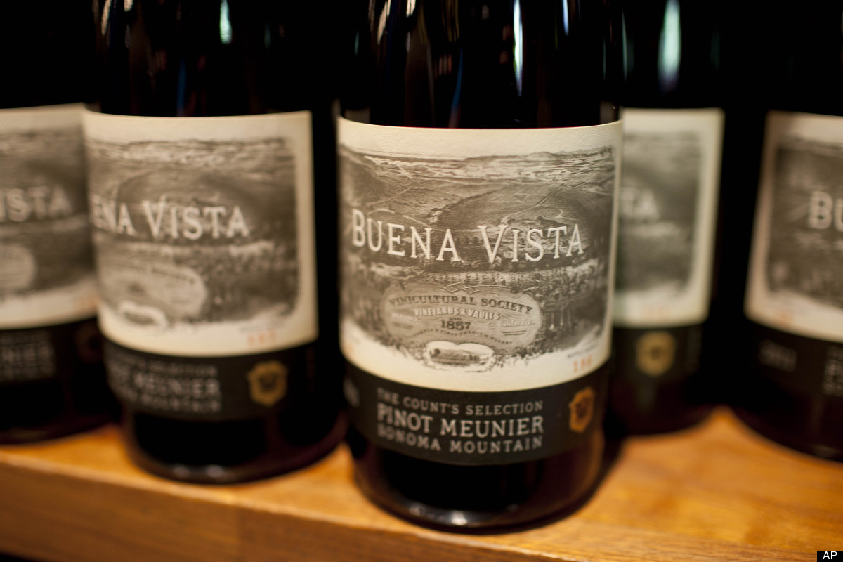In this photo taken Thursday, Aug. 23, 2012 bottles of Pinot Meunier are shown with a newly designed label paying tribute to