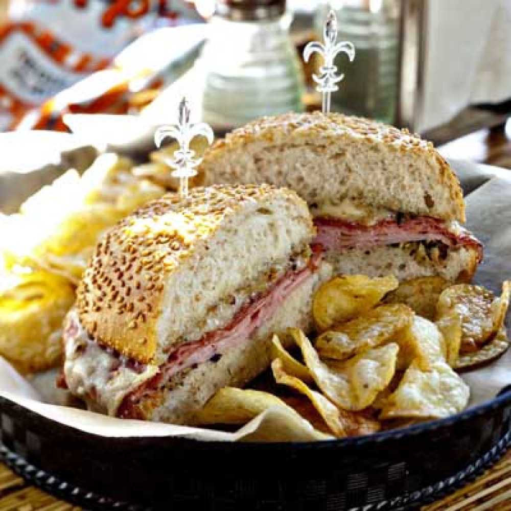 <strong>Sandwich</strong>: Muff-a-Lotta  Chef-partner and New Orleans native David Guas's menu spells muffaletta phonetical