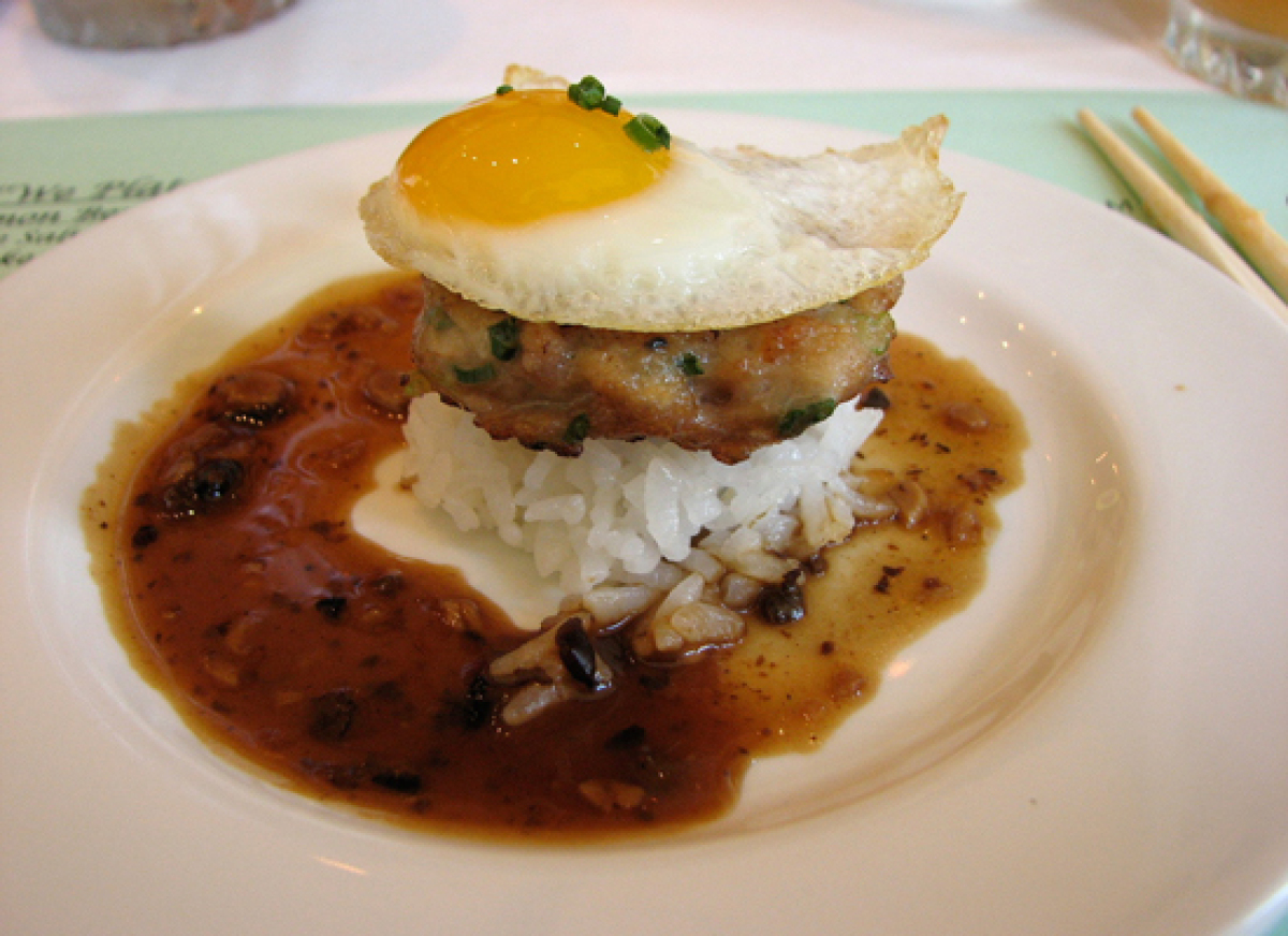 One of Hawaii's most popular comfort foods, the loco moco consists of white rice topped with a hamburger patty, a fried egg a