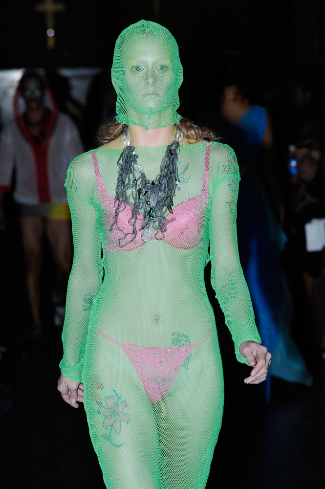 A green bodysuit at Adrian Alicea. Photo: Getty Images.