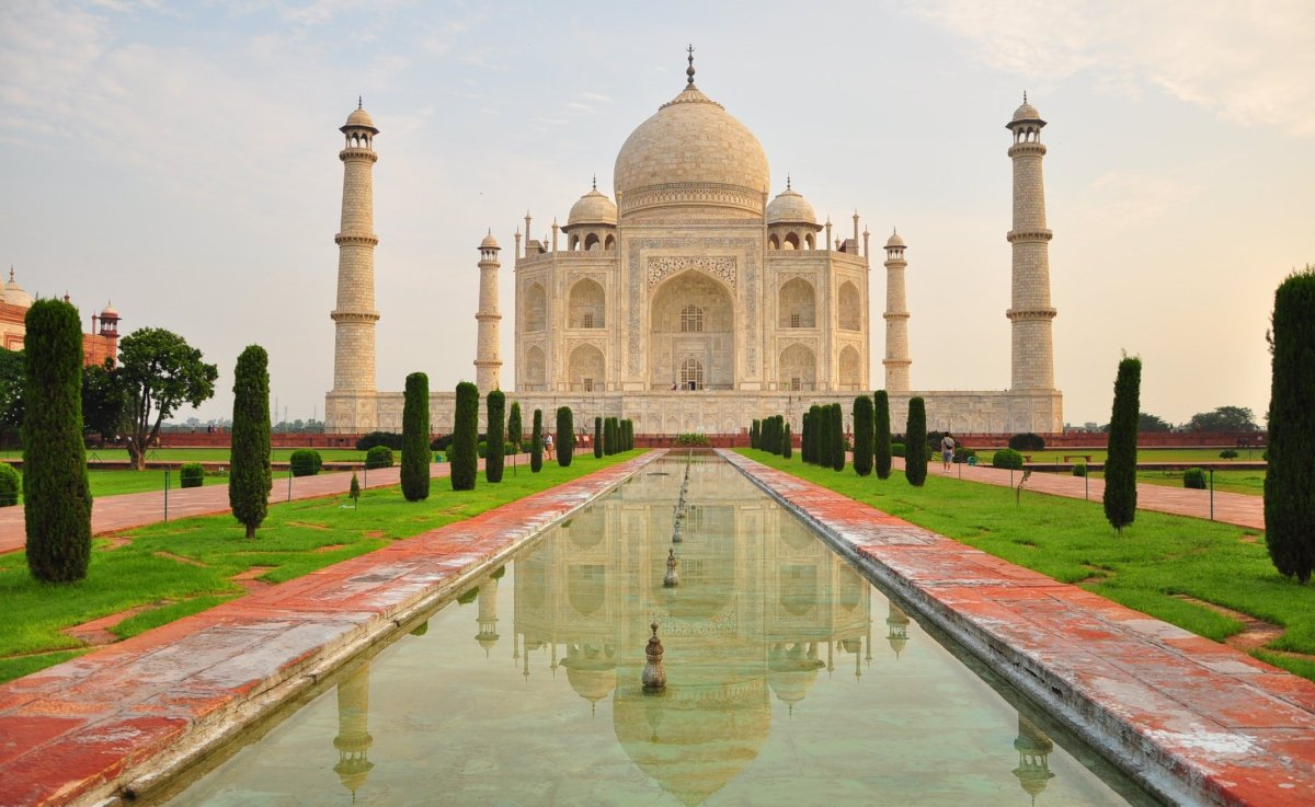 The Taj Mahal at sunrise. Construction began in 1632, the year after Mumtaz Mahal died. She was interred there in 1633, and t