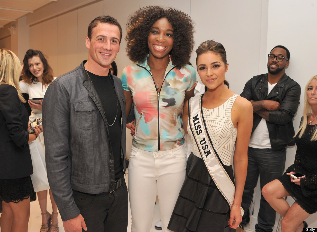 NEW YORK, NY - SEPTEMBER 12: (L-R) Olympic medalist and professional swimmer Ryan Lochte, professional tennis player Venus Wi