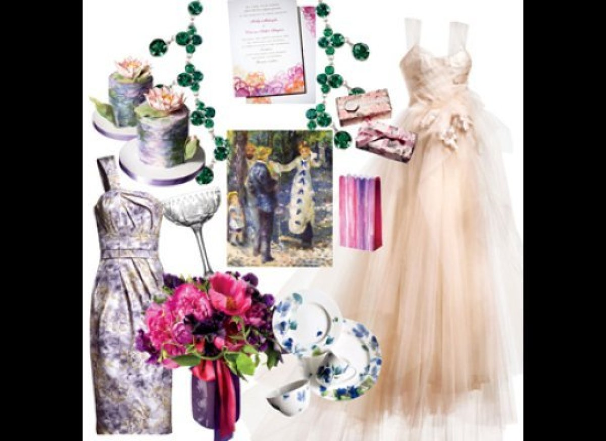 Our mood board channels the art movement with hand-painted place cards, mini cakes modeled after Monet's Water Lilies, and a