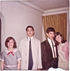 """The earliest photo is from April 17, 1965. Peggy and I are going on a double date. She is on the right side of the photo in"