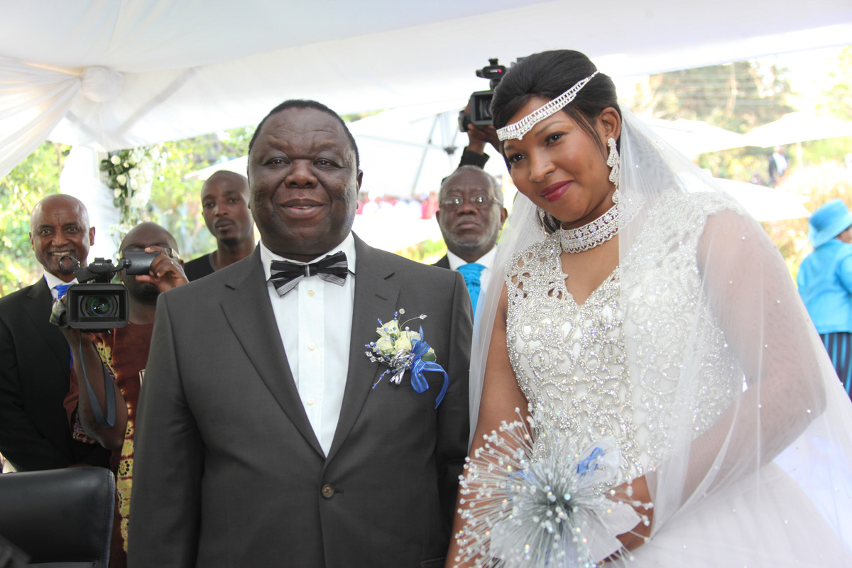 Zimbabwean Prime Minister Morgan Tsvangirai, left, is seen with his wife Elizabeth Macheka during a traditional wedding cerem