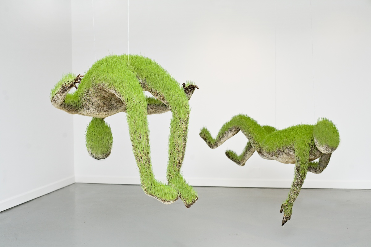 Soil, wheat seeds, structure from recycled metal, fabric, 2010-2012.