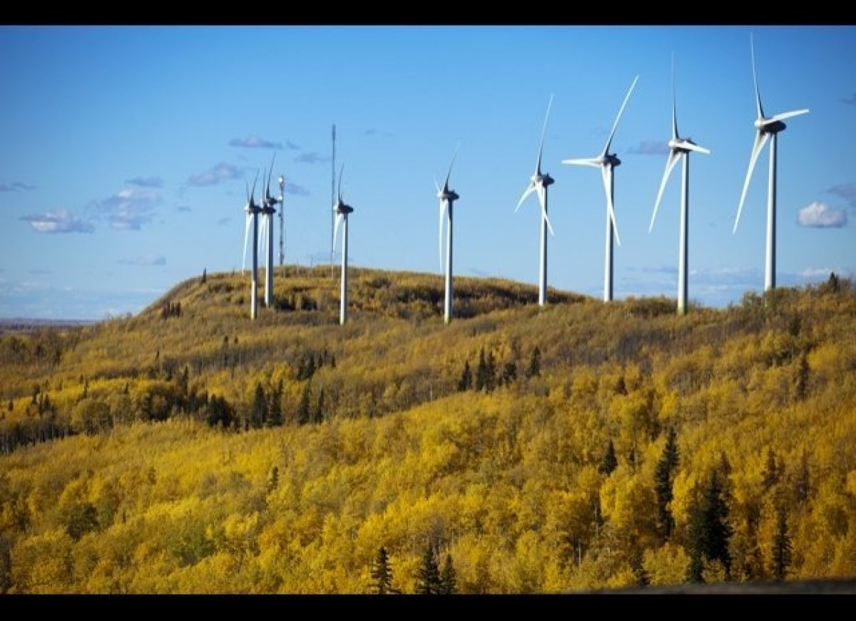 This 102 megawatt wind farm, the Bear Mountain Wind Park overlooks the city of Dawson Creek.