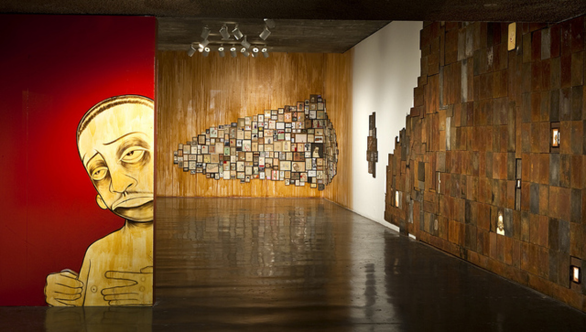 Installation view of Barry McGee, on view at the UC Berkeley Art Museum and Pacific Film Archive from August 24 through Decem