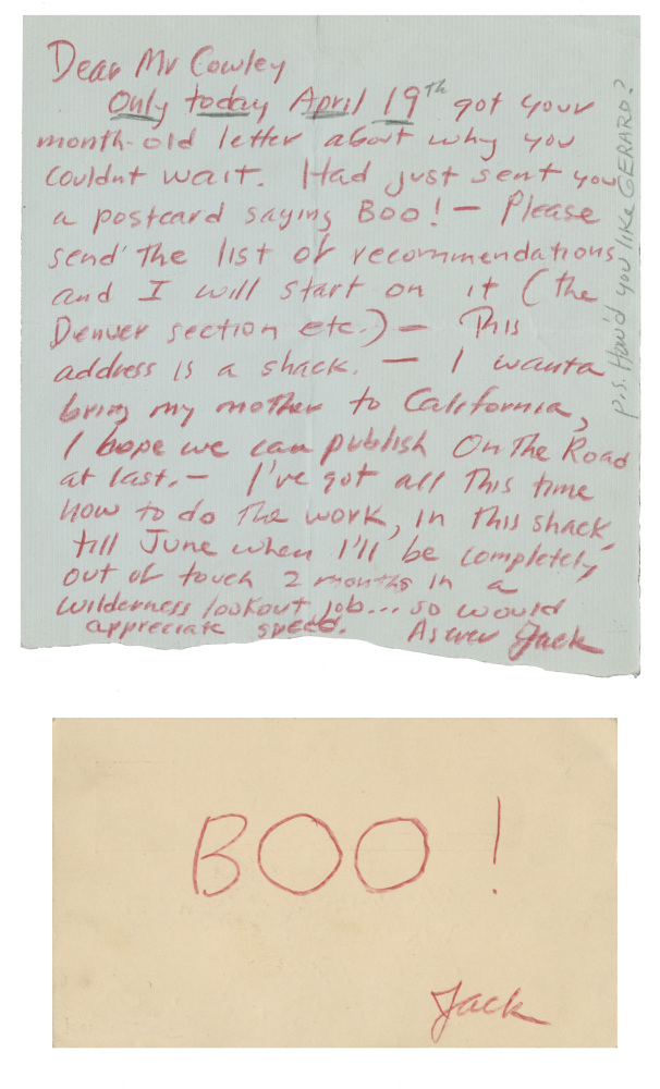 """<strong>Postcard to Malcolm Cowley  <br> Mill Valley, California: April 18, 1956</strong><br> Jack Kerouac sent his """"Boo!"""""""