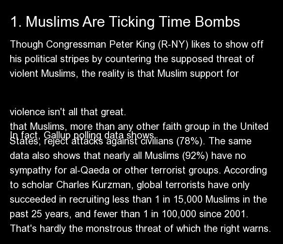 Though Congressman Peter King (R-NY) likes to show off his political stripes by countering the supposed threat of violent Mus
