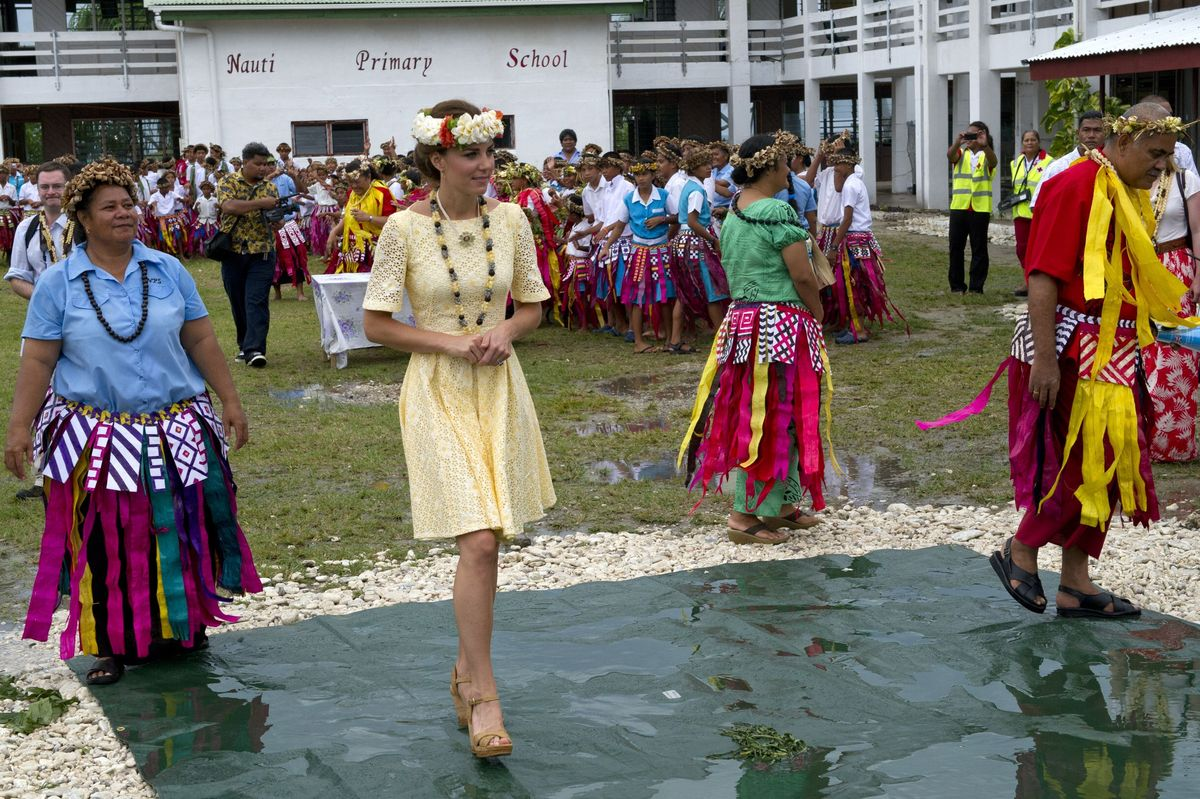 The Duchess of Cambridge at Nauti Primary School during a visit to Tuvalu, Solomon Islands, part of a nine-day royal tour of