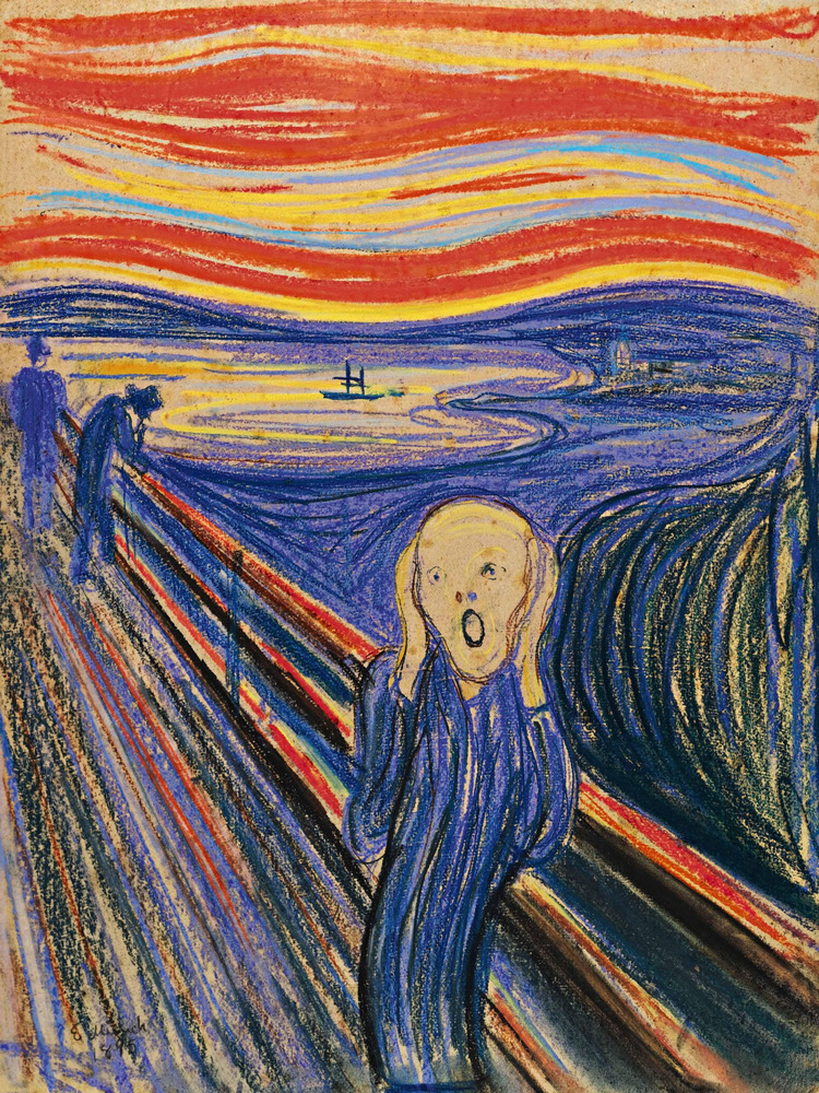 """You don't quite know how to tell people you're a murderer.   """"The Scream"""" by Edvard Munch (1895) (AP Photo/Sotheby's Auction"""