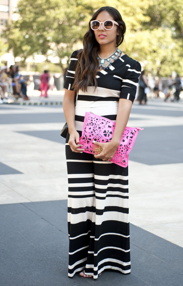 """This young lady was not afraid to stand out in the crowd in a black-and-white <a href=""""http://www.glamour.com/fashion/blogs/s"""