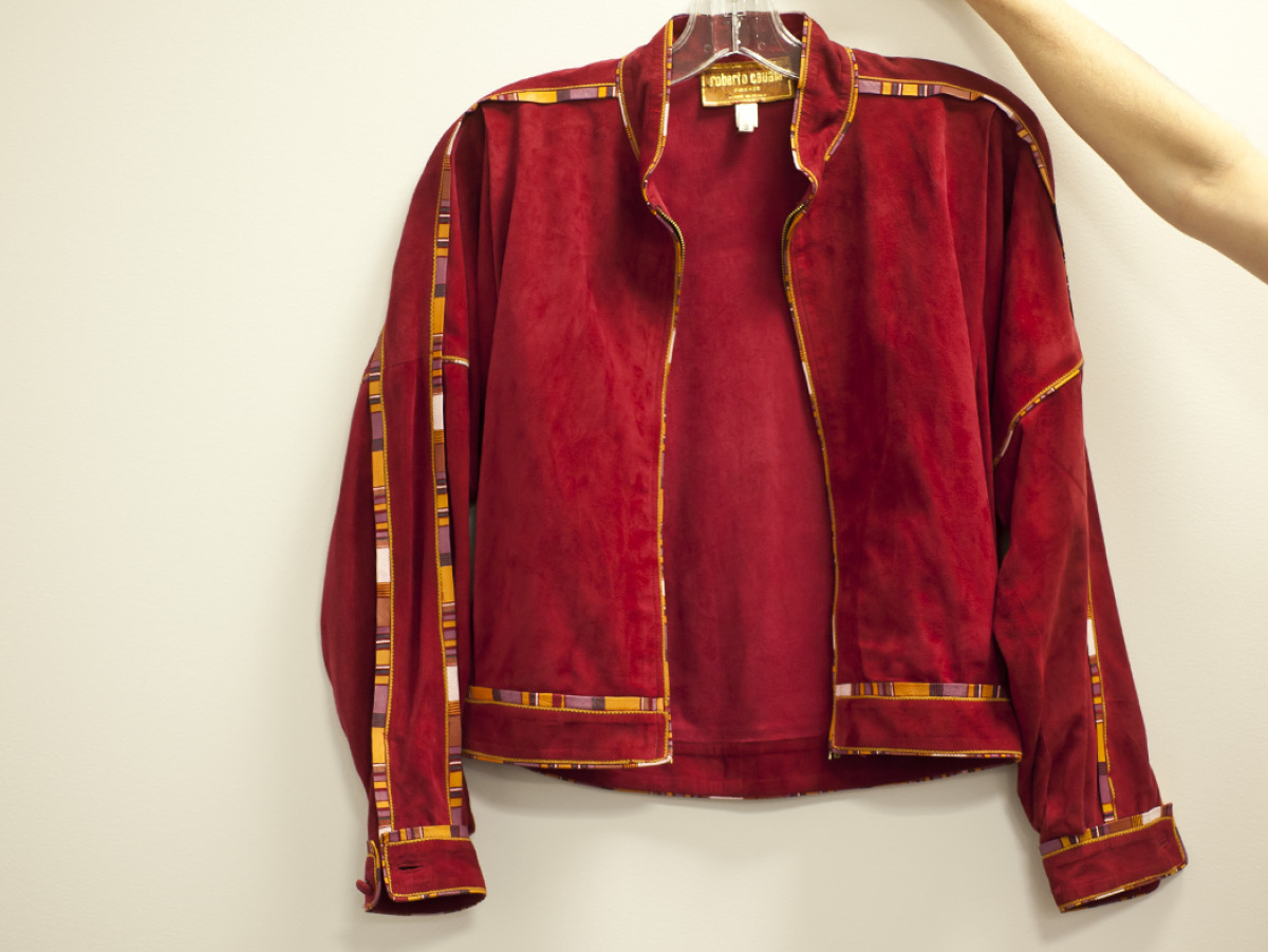 I found this vintage Roberto Cavalli jacket in a thrift store in Santa Fe. Check out the old-school tag.   <em>Photos court