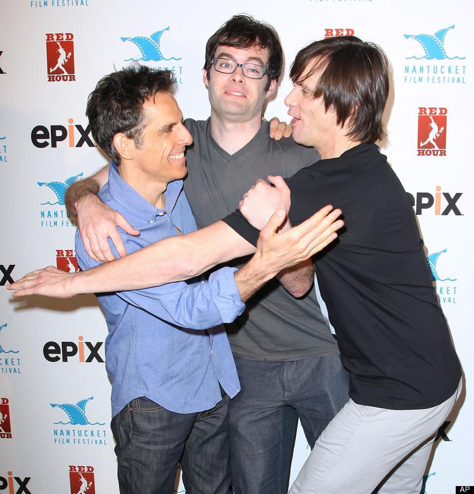 Ben Stiller, Bill Hader y Jim Carrey. (AP Photo/Starpix, Kristina Bumphrey)