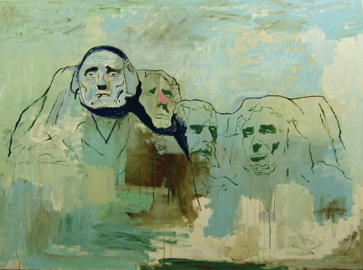 """WES LANG (b. 1972)  Mt. Rushmore """"The Only Shit that's Left Behind"""", 2005   Acrylic on canvas, 40 x 54 in."""