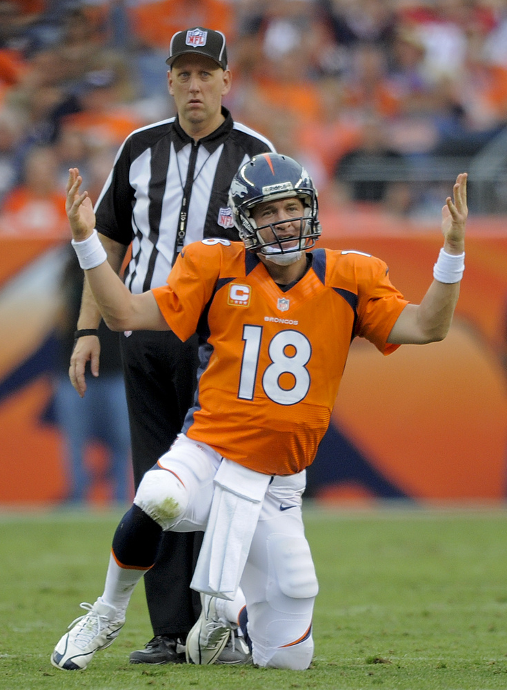 Denver Broncos quarterback Peyton Manning (18) reacts after a sack in the fourth quarter of an NFL football game against the
