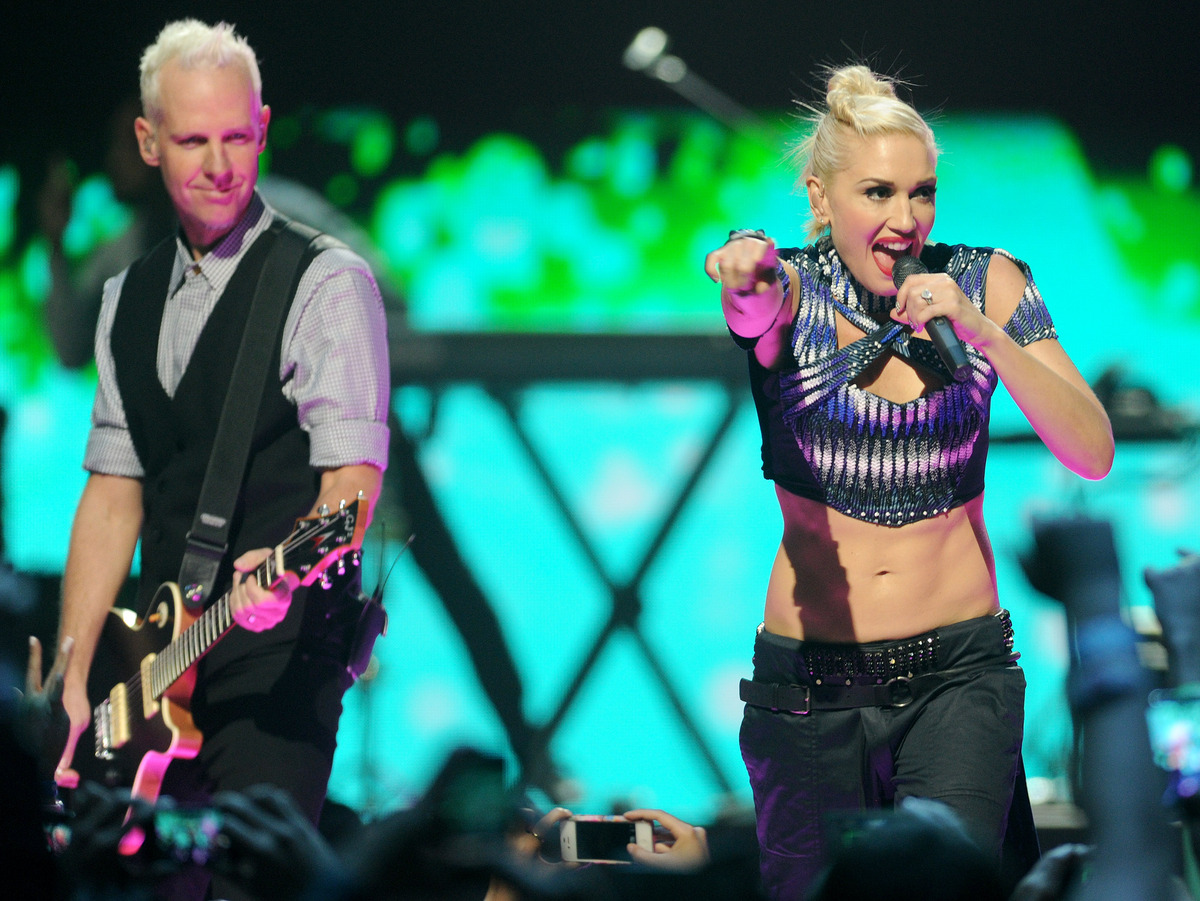 Gwen Stefani and Tom Dumont of No Doubt perform at the iHeart Radio Music Festival on Friday, Sept., 21, 2012 at the MGM Gran