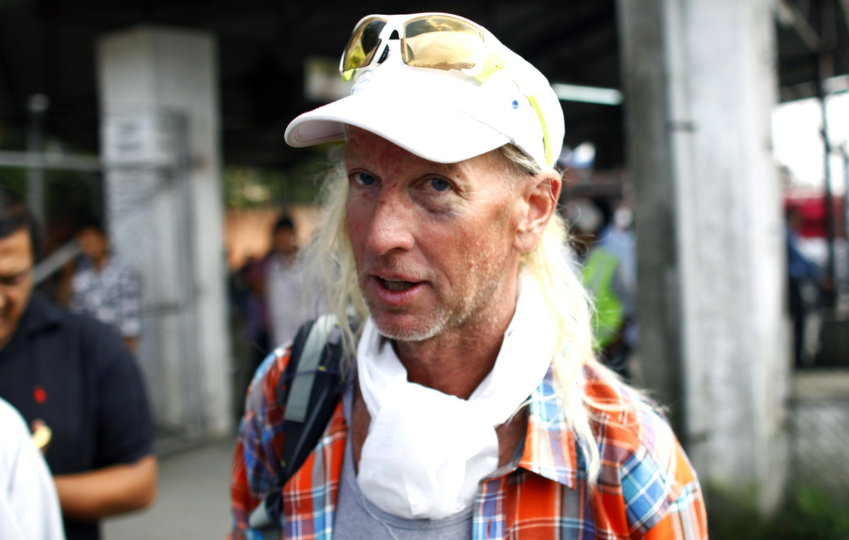 American Glen Plake, a survivor of a weekend avalanche at Mount Manaslu in the Himalayas arrives at the Tribhuwan domestic ai