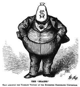 Boss Tweed depicted by Thomas Nast in a wood engraving published in Harper's Weekly, October 21, 1871.