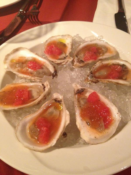 """""""Blue Point oysters with grapefruit and rosemary. Loved."""""""
