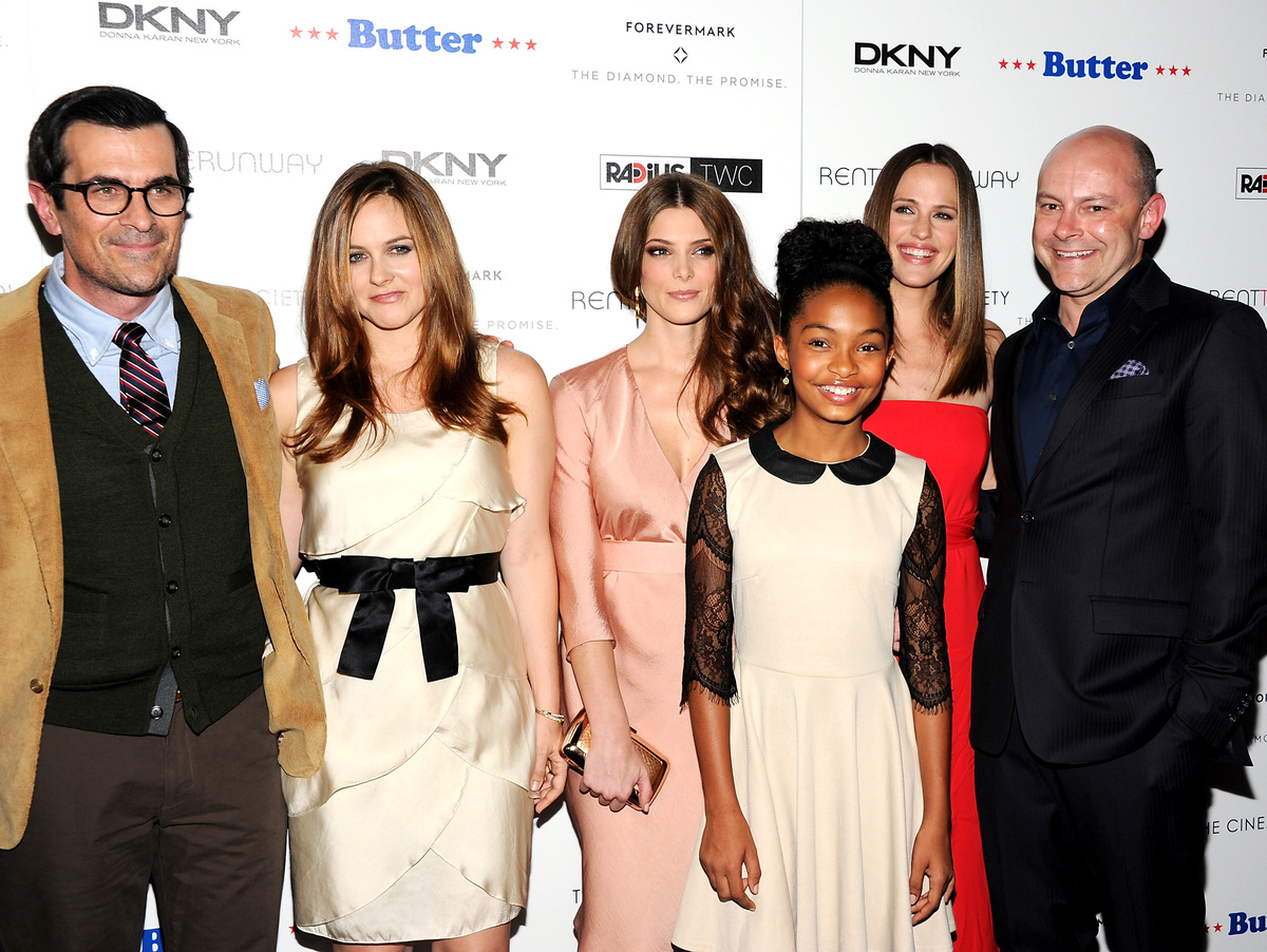 """Cast members, from left, Ty Burrell, Ashley Greene, Yara Shahidi, Jennifer Garner and Rob Corddry attend the premiere of """"But"""