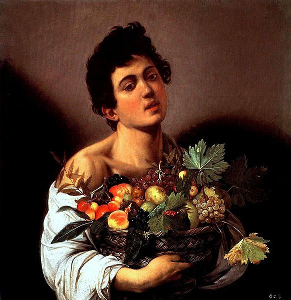 Boy with a Basket of Fruit, 1593–1594. Oil on canvas, 67 cm × 53 cm (26 in × 21 in). Galleria Borghese, Rome.
