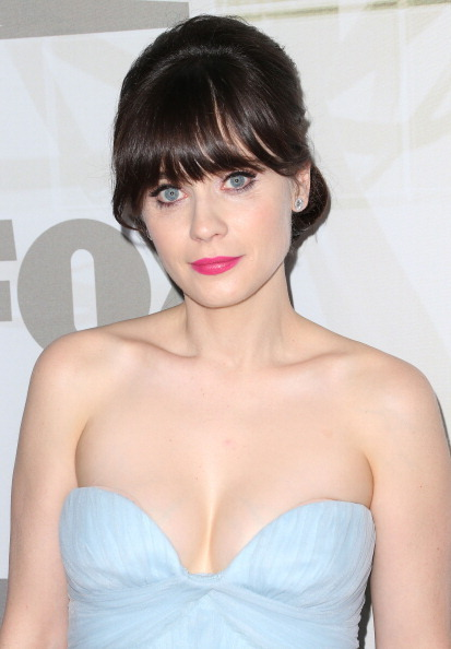 """New Girl"" star, Zooey Deschanel, showed off some serious décolletage at the <a href=""http://www.stylelist.com/2012/09/23/emm"